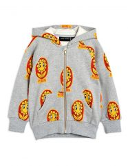 Mini Rodini Grey Flower Zip Hoody