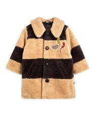 Mini Rodini Capsule Collection E.T. Striped Faux Fur Coat