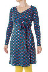 DUNS Radish Blue LS Wrap Dress LADIES
