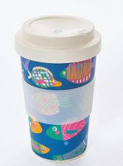 Eco Chic tropical fish bamboo cup