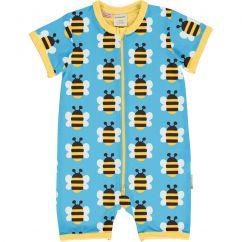 Maxomorra Humble Bumblebee Zip Shortie Romper