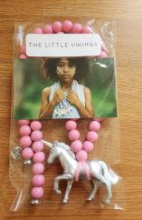 The Little Vikings silver unicorn with pink beads necklace