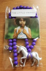 The Little Vikings silver unicorn with purple beads children's necklace