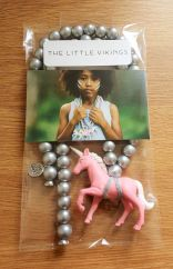 The Little Vikings pink unicorn with silver beads necklace